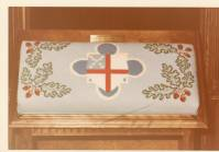 Needlepoint Communion rail cushion with Episcopal Church shield, Grace Episcopal Church, Sheboygan, Wisconsin, 1975