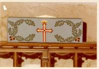 Needlepoint Communion rail cushion with budded cross with trefoil ends, Grace Episcopal Church, Sheboygan, Wisconsin, 1975