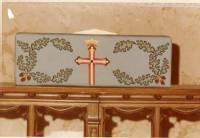 Needlepoint Communion rail cushion, Grace Episcopal Church, Sheboygan, Wisconsin, 1975